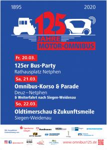 """Plakat zur Jubliäumsveranstaltung """"125 Jahre Motor-Omnibus"""""""